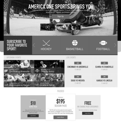 America One Sports Wireframes